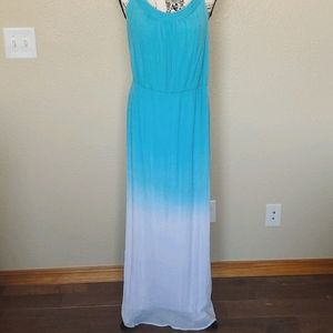 AGB Ombre Maxi Dress Blue White Size LARGE